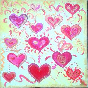 Heart Communication, 30x30cm, Acryl auf Leinwand, 150,00€ zzgl Versand
